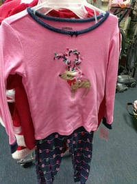 girl's pink crew-neck long-sleeved shirt with pants