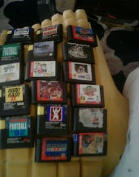assorted Nintendo game cartridges collection