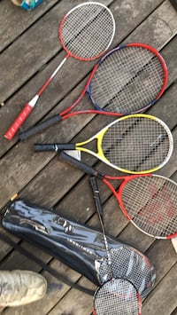 two black and red tennis rackets Surrey, V3V 3P1