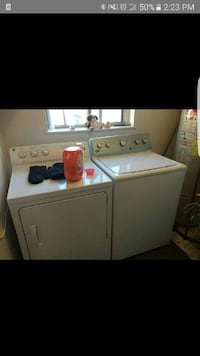 white clothes dryer and washer