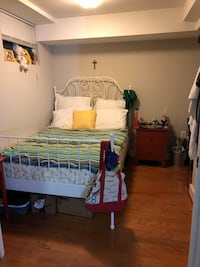 Vintage bed frame and Full size mattress with mattress pad