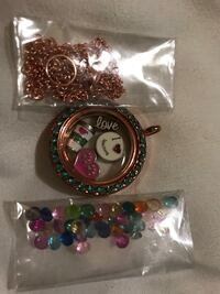 Glass necklace and charms