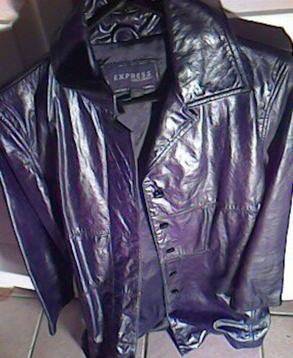 purple Express leather button-up jacket