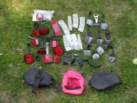 Box of New and Used Bicycle Reflectors and Bags. Norton