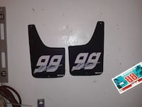 two black-and-white 99 print mudflaps