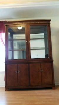 brown wooden framed glass Cabinet display cabinet