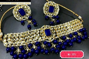 Kundan pearl bridal set necklace with earrings Ind.