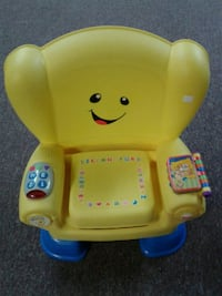 yellow and blue Fisher-Price learning chair
