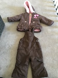toddler's brown zip-up bubble hoodie and bib overalls Vaughan, L4L 1R9