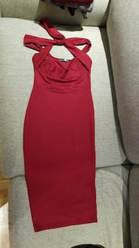 BOOHOO red bodycon night dress with choker