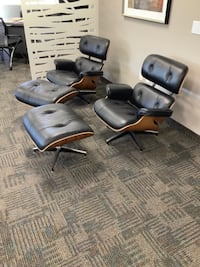 High End LEATHER Chair and Ottoman [NEW] Milton