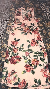 black, white, and pink floral dress Apache, 73006