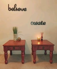 Chalk Painted Red and black end tables Niagara Falls