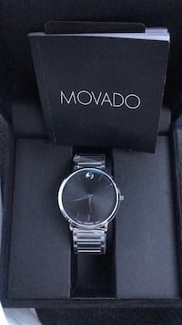 round silver-colored Movado analog watch with link bracelet Stafford, 22554