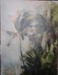 Palm tree painting soothing. Photograph does not do justice to picture and frame. Mounted canvas on a wooden frame Toronto, M1T 3S4