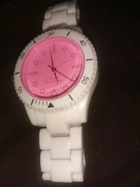 round white analog watch with white strap Calgary, T2A 6T5