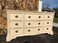 Buffet/ dresser/ tv custom painted in creamy ivory and sealed with wax. Solid wood.  Inverness, 34453