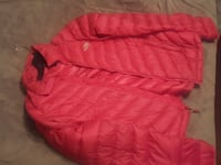 red The North Face zip-up bubble jacket