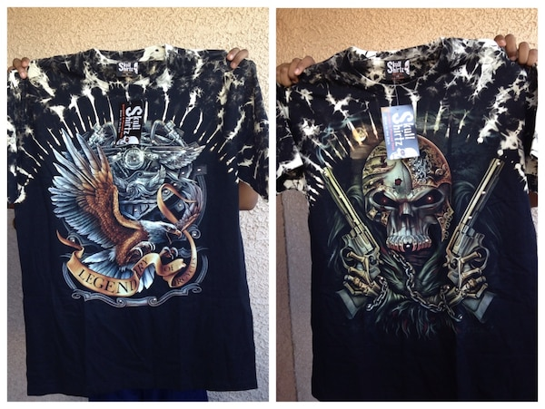 7380435ed Swipe to see more info. Skull shirtz and survivors glow in the dark studded  and pierced tees