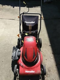 red and black mower