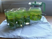 Pitcher with 6 glasses with carrier Montréal, H4N