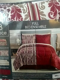 Comforter FULL Red and White floral