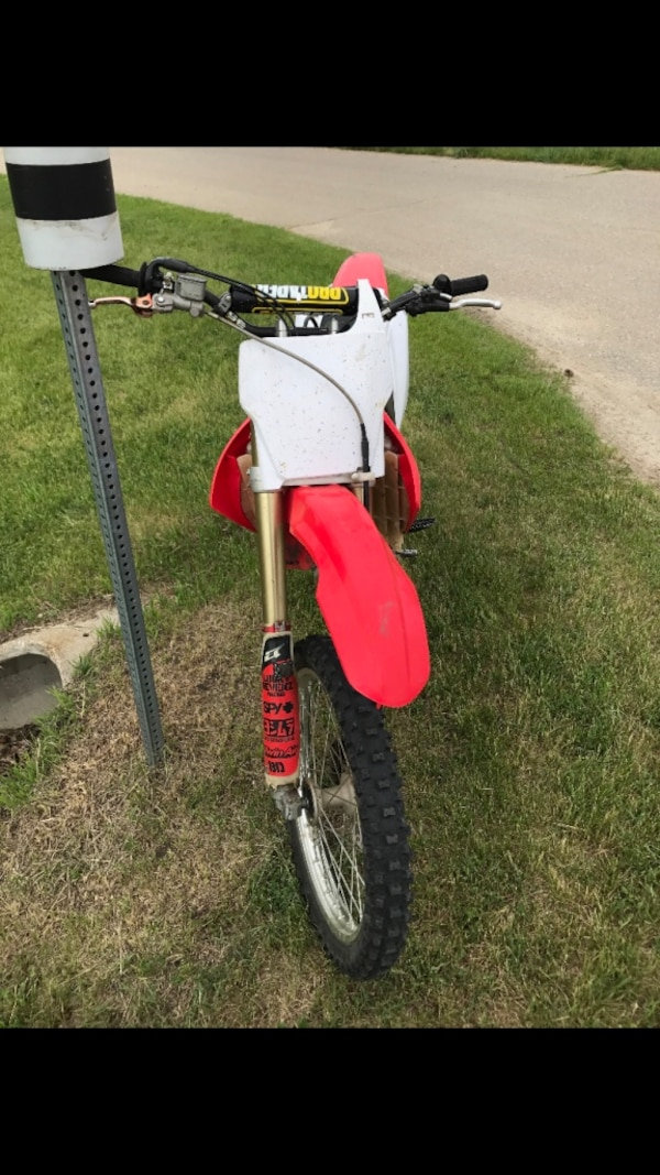 White and red motocross dirt motorcycle