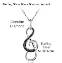 STERLING SILVER BLACK DIAMOND ACCENT MUSICAL NOTE PENDANT NECKLACE AND EARRINGS 735 mi