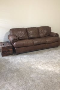 Brown Leather Couch with inner spring sleeper Centreville, 20120