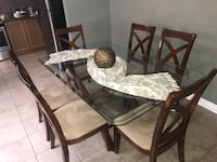 Rectangular brown wooden table with six chairs dining set Brampton, L6P