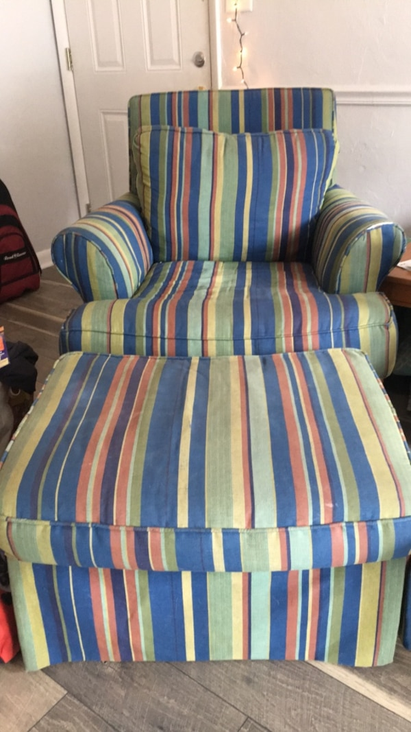Used blue, white, and green striped sofa chair for sale in ...