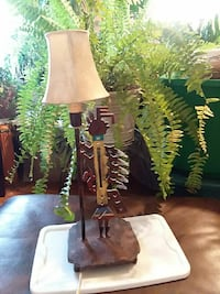 brown and green table lamp