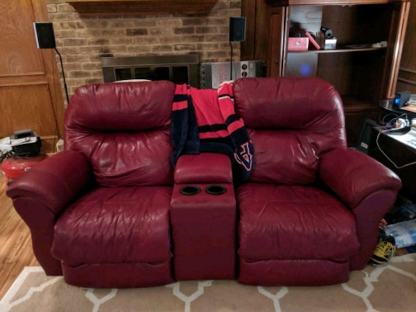 Deep Red Leather Living Room Set