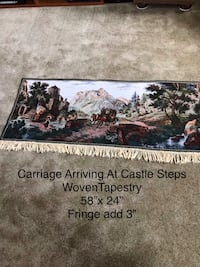 Woven Tapestry. Carriage Arriving at the Castle Steps. Just pulled out of box. New Newark, 19702