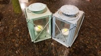 Glass and Metal Architectural Flameless Candle Lantern (Pair) - Green Patina Falls Church