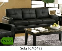tufted backrest black leather 3-seat sofa 2261 mi