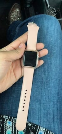 Silver aluminum case apple watch with white sports band McAllen, 78501