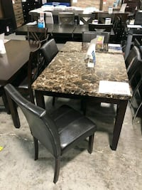 Table set with 4 chairs faux marble brand new  San Antonio, 78217