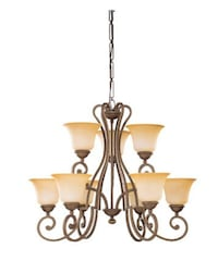 Sea Gull Lighting Brandywine 34.5-in 9-Light Antique Bronze Tinted Glass Virginia Beach