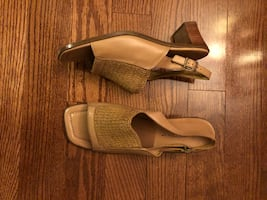LEATHER OPEN TOE SHOES by Trottier ( Size 9 1/2 M) NEW