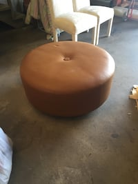 brown leather ottoman 36x36