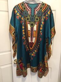 blue and multicolored dashiki poncho Pickering, L1X