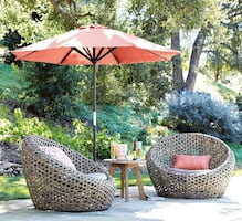 New Pair Montauk Nest Outdoor Chairs (Antique Palm) w/Covers (2)