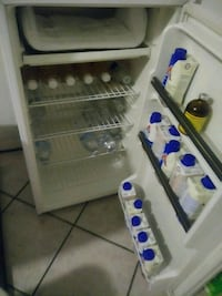 white and blue commercial refrigerator