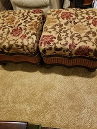 two brown-and-white floral fabric ottomans Jackson, 08527