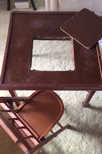 Vintage mid century children's cut out table and chair