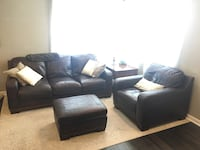 Leather couch, chair, ottoman and wood end table. Ashley Furniture   Denver, 80207