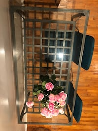 Ikea glass and steel dining table New York