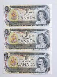 1973 Set of 3 Vintage Canadian Modified Series $1 - Crisps Calgary, T2R 0S8