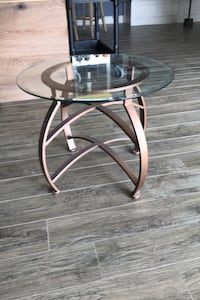Glass top side table.